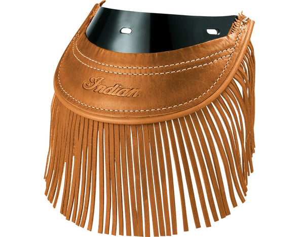 Genuine Leather Rear Mud Flap with Fringe -Desert Tan