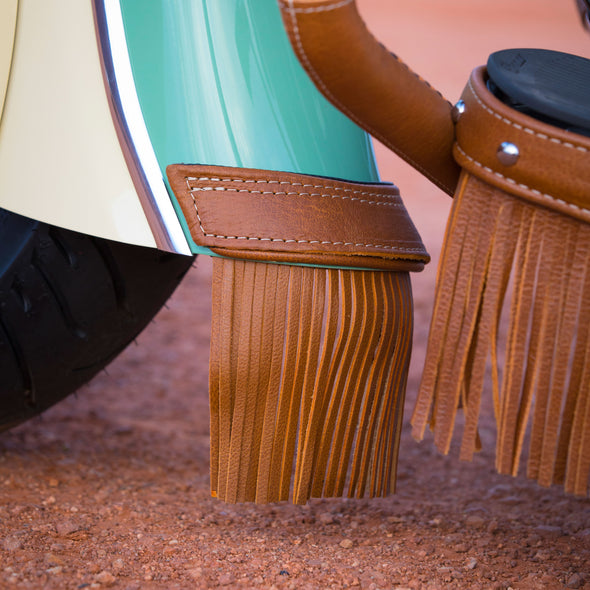 Genuine Leather Front Mud Flap With Fringe -Desert Tan