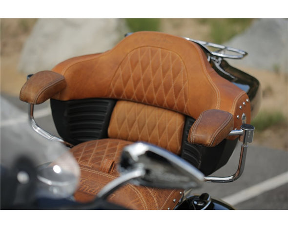 Genuine Leather Quilted Trunk Backrest Pad -Desert Tan
