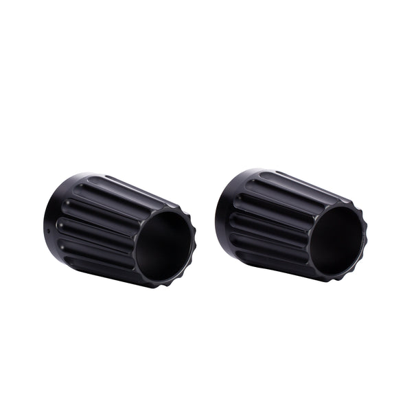 Grooved Exhaust Tips, Pair -Black