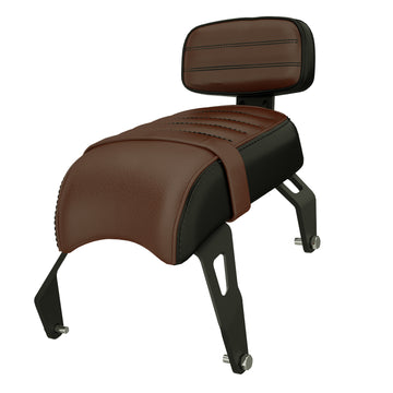 Genuine Leather Passenger Seat with Sissy Bar -Brown