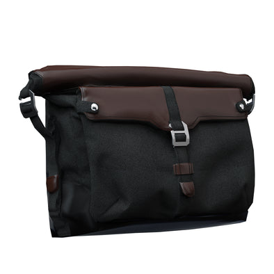All-Weather Vinyl Messenger Bag with Shoulder Strap -Black/Brown