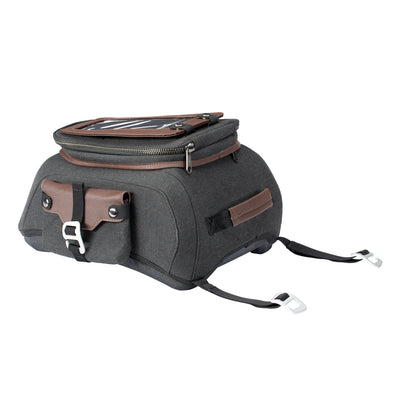 All-Weather Vinyl Tank Bag with Protective Phone Pocket -Gray/Brown