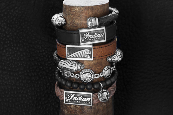 Leather Bracelet with Snap Buttons and Indian Motorcycle Script