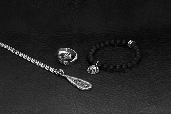 Matte Onyx Bracelet with Indian Headdress Logo Charm
