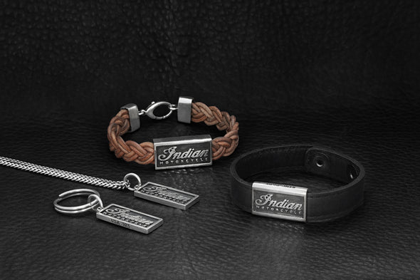 Braided Leather Bracelet with Silver Indian Script Logo