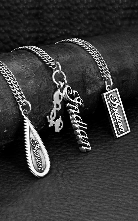 Indian Script Logo Pendant with Motorcycle Charm