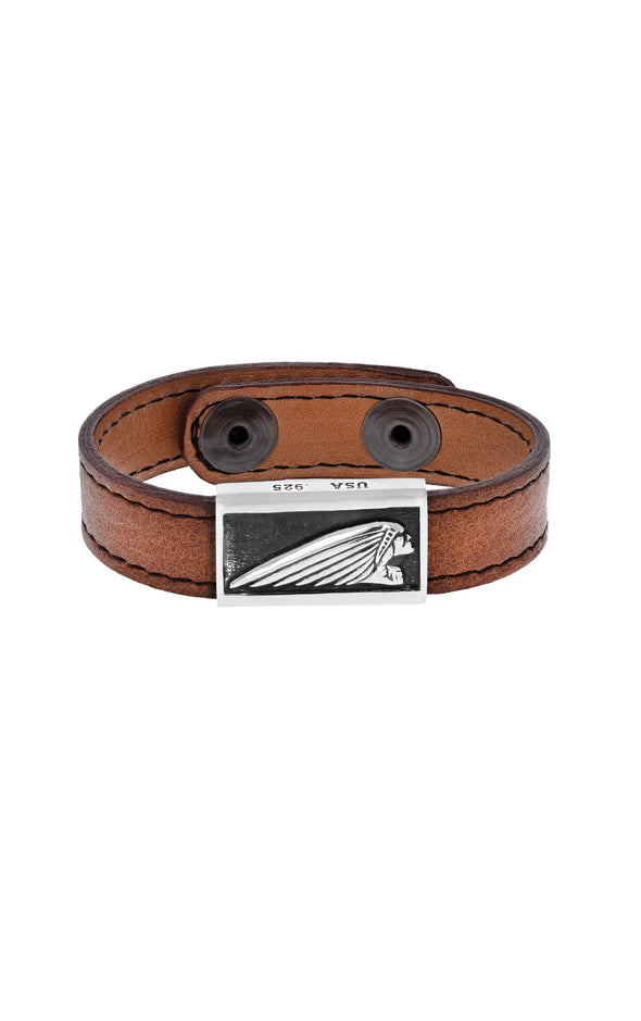Leather Bracelet with Silver Indian Motorcycle Headdress Logo