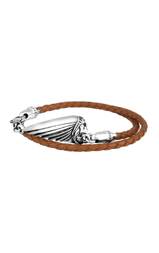 Thin Braided Brown Leather Indian Headdress Double Wrap Bracelet