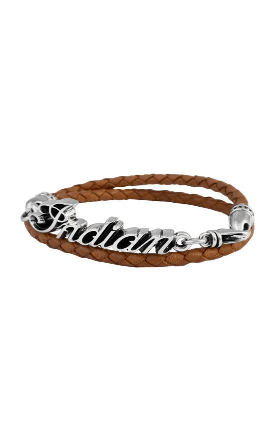 Thin Braided Brown Leather Indian Script Logo Double Wrap Bracelet