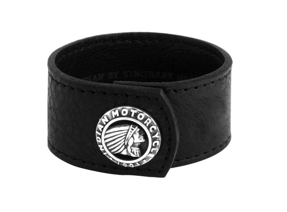Black Leather Cuff with Indian Logo Silver Button