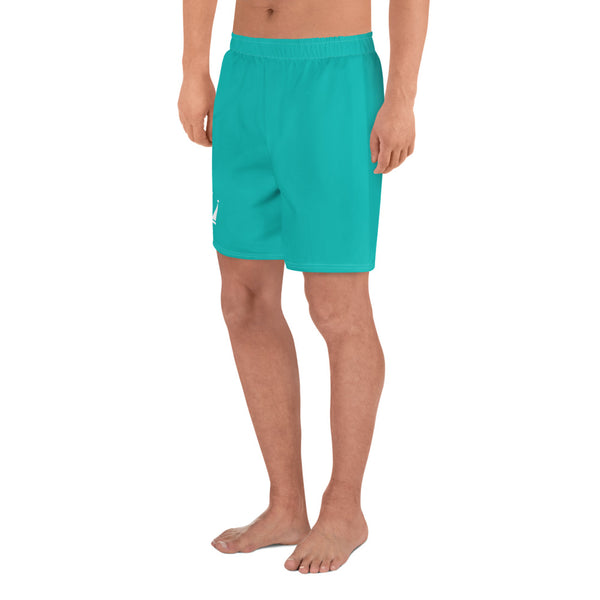 Men's Tiffany Blue Athletic Long Shorts (White Crown)