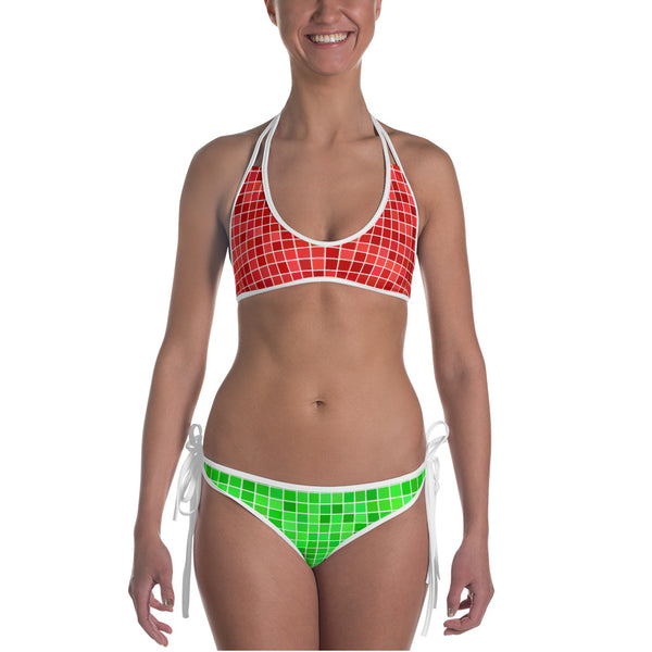 Marlow Heights Cursive Reversible Bikini (Red/Green)