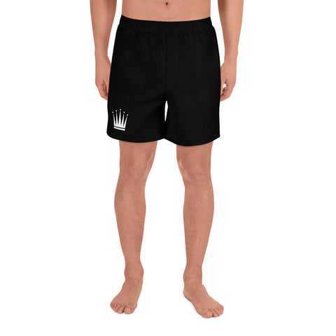 Men's Black Athletic Long Shorts (White Crown)
