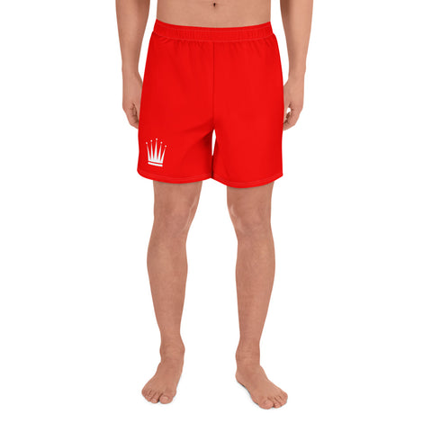 Men's Red Athletic Long Shorts (White Crown)