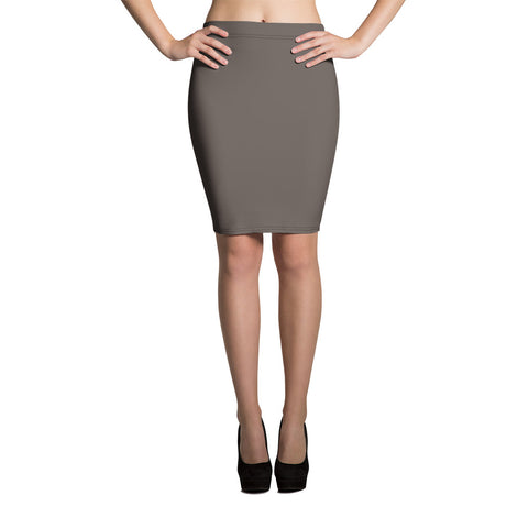 Brown Granite Pencil Skirt