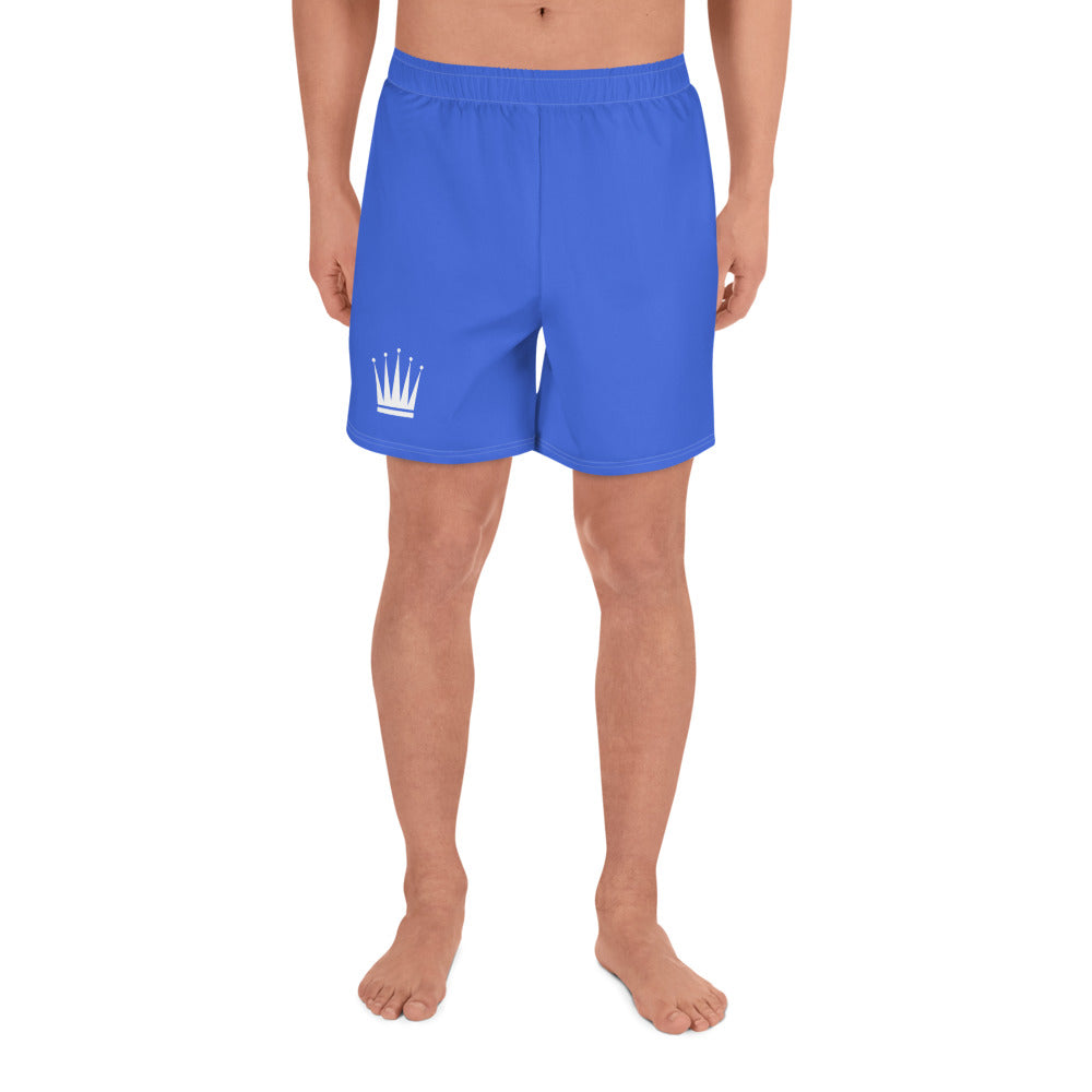 Men's Blue Athletic Long Shorts (White Crown)