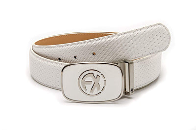 100% Leather Belt in White