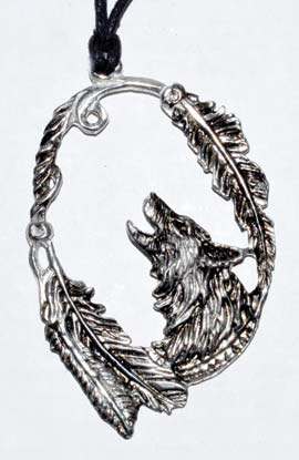 "3 1-4""wolf With Feathers Amulet"