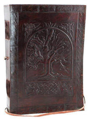 Tree Of Life Leather Blank Book W- Cord