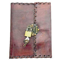 Stitched Leather Blank Book W- Key