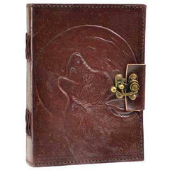 Wolf Moon Leather Blank Book W- Latch