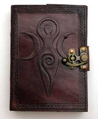 Maiden Mother Moon Leather Blank Book W- Latch