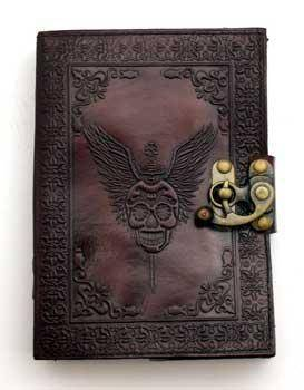 Skull With Wings Leather Blank Book W- Latch
