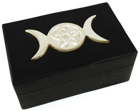 "4"" X 6"" Triple Moon Pentagram Wood Box"