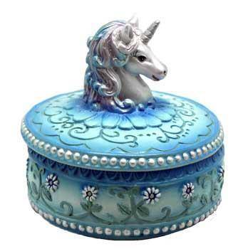 "3 1-2"" Blue Unicorn Box"