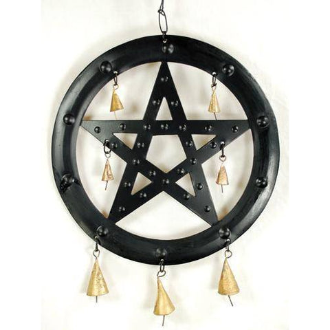"9 1-2""black Pentagram Wind Chime - ***new Image***"