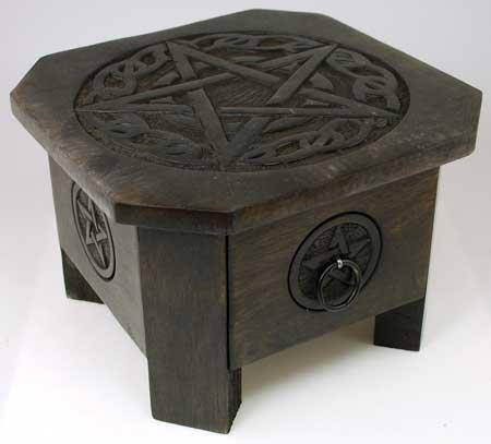 Celtic Pentagram Altar Table With Drawer 7 1-2""