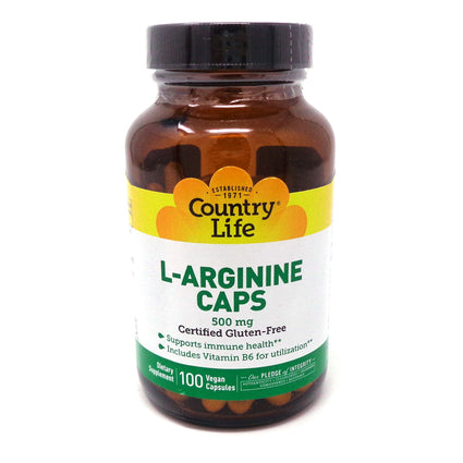 L-Arginine 500 mg with B-6 by Country Life 100 Vegetarian Capsules