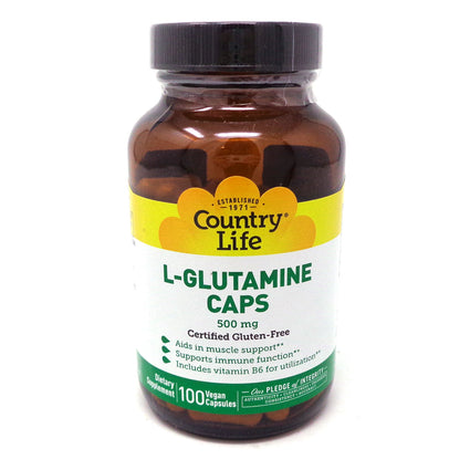 L-Glutamine 500 mg by Country Life - 100 Vegetarian Capsules