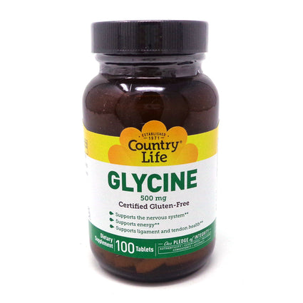 Country Life Glycine 500 mg with Vitamin B-6  - 100 Tablets