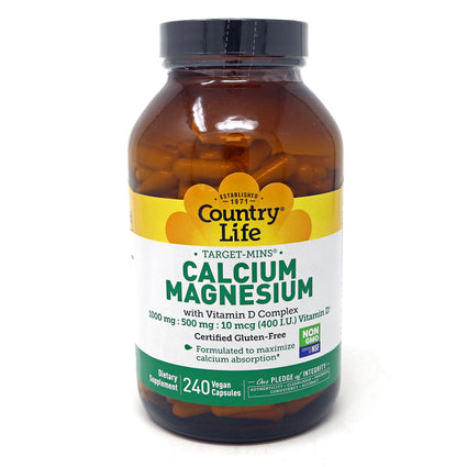 Calcium-Magnesium with Vitamin D Complex By Country Life 240 Vegetable Capsules