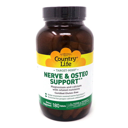 Country Life Nerve & Osteo Support  180 Tablets