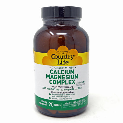 Calcium Magnesium Complex with D3 By Country Life - 90 Tablets