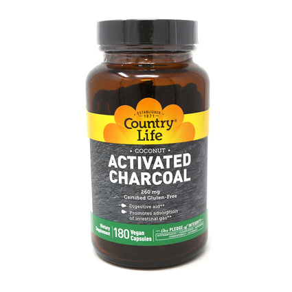 Country Life Activated Charcoal 260mg  - 180 Capsules