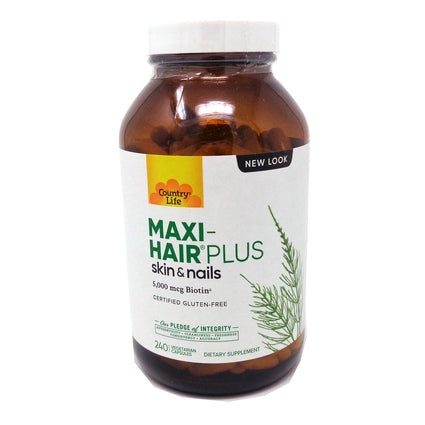 Country Life Maxi-Hair Plus Hair Skin and Nails  - 240 Capsules