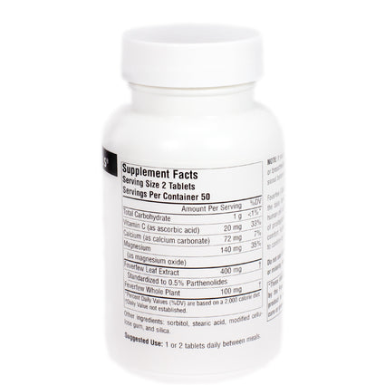 Source Naturals Feverfew Extract 100 tabs