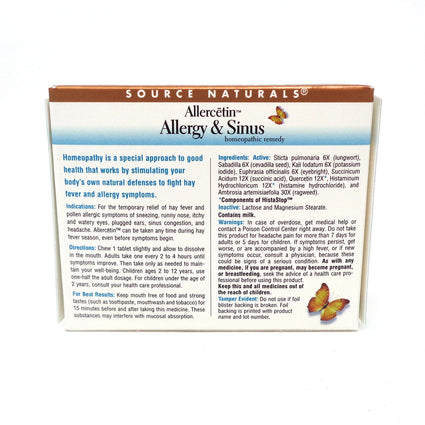 Allercetin Allergy and Sinus by Source Naturals - 48 Tablets