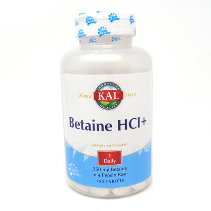 Betaine HCl By KAL - 250  Tablets