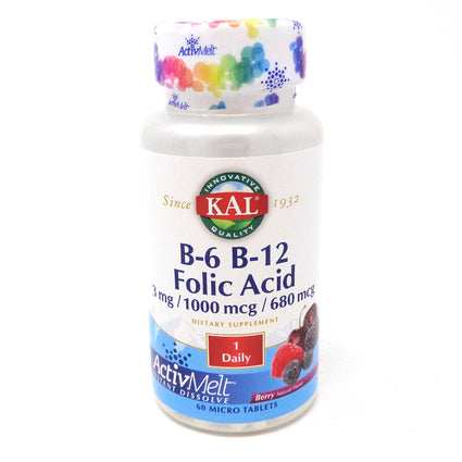 Kal B6 B12 Folic Acid ActivMelt Vegan Lozenge Berry  60ct