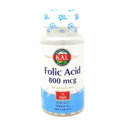 Folic Acid + B-12 800 mcg/ 5 mcg By KAL - 100  Tablets