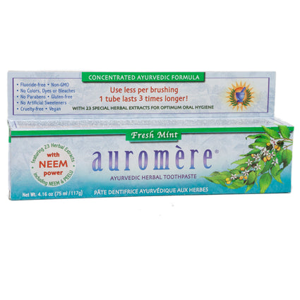 Auromere Ayurvedic Herbal Toothpaste Fresh Mint - 4 Ounces