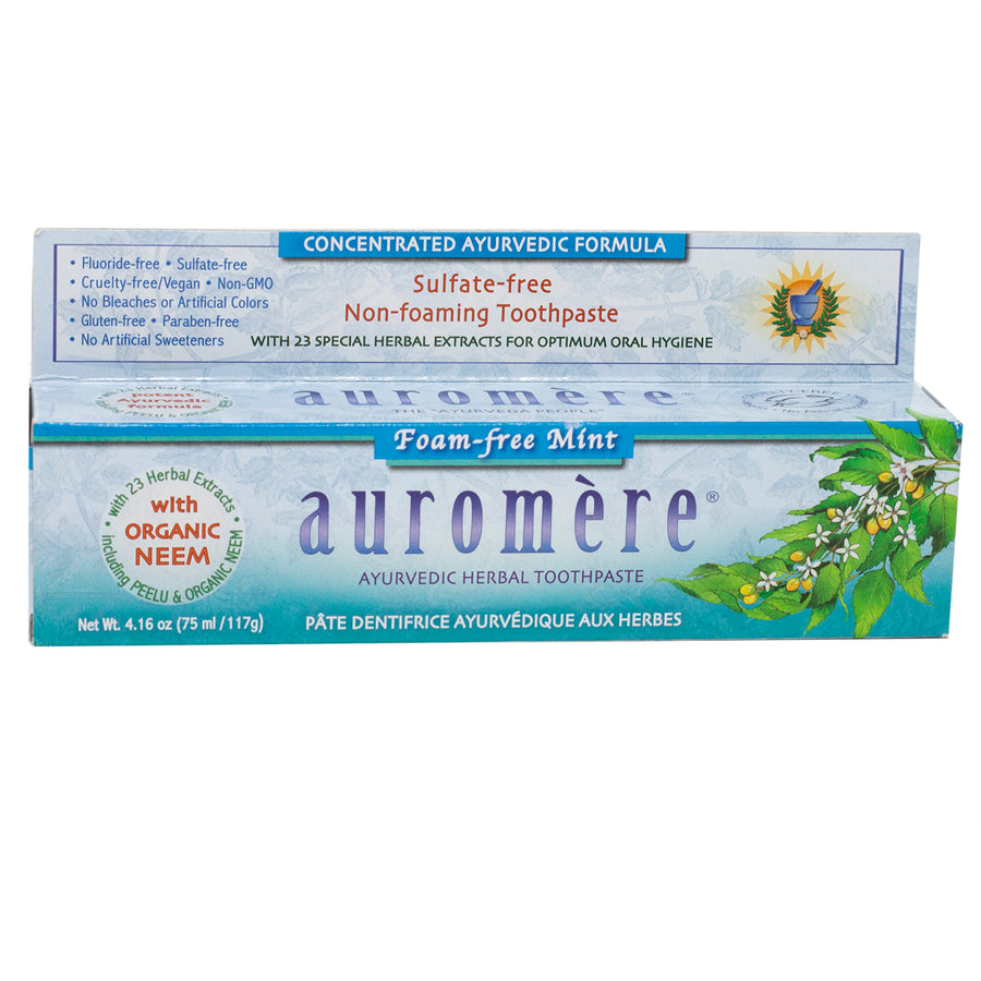 Auromere Imports Foam-Free Mint Toothpaste - 4.16 Ounces