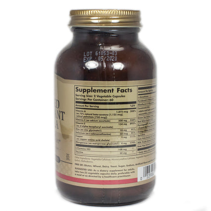 Solgar Advanced Antioxidant Formula Vegetable Capsules  - 120 Count