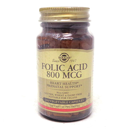 Folic Acid 800 mcg Capsules By Solgar - 100 Count