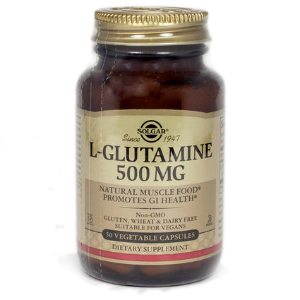 Solgar L-Glutamine 500 mg Vegetable Capsules  - 50 Count
